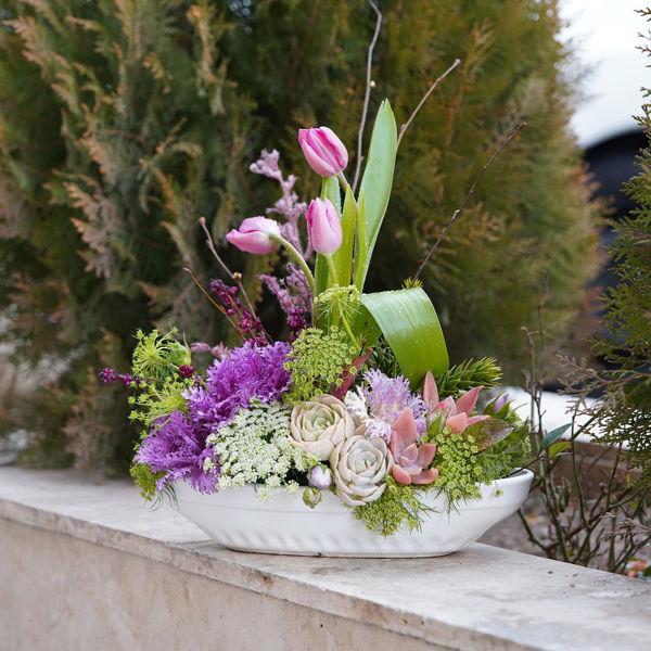 تصویر از گلدان قایقی دیزاین شده